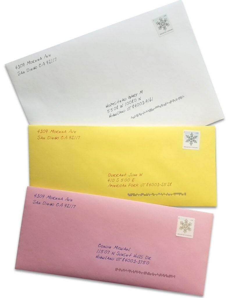 letters with invitation  colored envelope